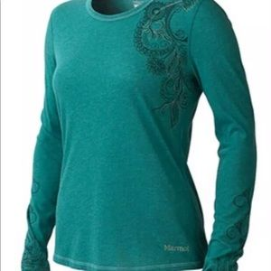 Marmot S teal long sleeve athletic outdoor shirt
